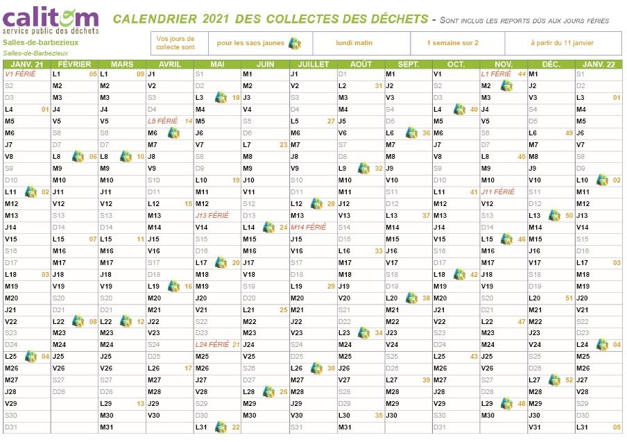 CALITOM vient de publier pour 2021 ses dates de ramassage des sacs